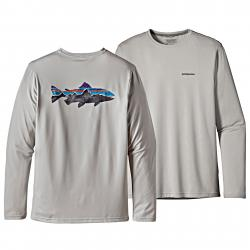Patagonia Men's Graphic Tech Fish Tee XL Painted Fitz Roy Trout: Grey