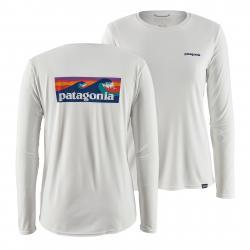 Patagonia Women's Long-Sleeved Capilene(R) Cool Daily Graphic Shirt Boardshort Logo: White L