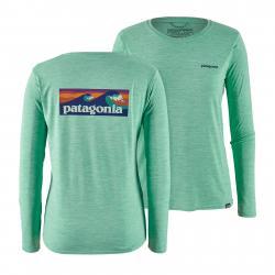 Patagonia Women's Long-Sleeved Capilene(R) Cool Daily Graphic Shirt Boardshort Logo: Vjosa Green X-Dye M