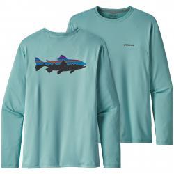 Patagonia Men's Graphic Tech Fish Tee XL Fitz Roy Trout: Dam Blue