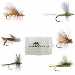 Umpqua Dry Fly Trout Fishing Fly Selection - Assortment of 12 with Fly Box