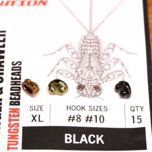 Flymen Fishing Co EVO Mayfly Clinger & Crawler Tungsten Beadheads XL Black