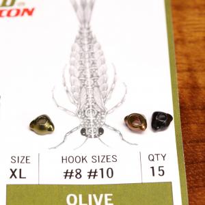 Flymen Fishing Co EVO Mayfly Swimmer & Burrower Tungsten Beadheads XS Olive