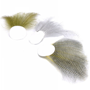 Hareline Barred CDC Feathers White