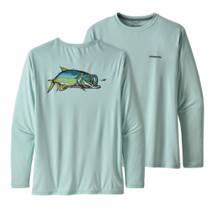 Patagonia Men's Long-Sleeved Capilene(R) Cool Daily Fish Graphic Shirt Chase: Atoll Blue L