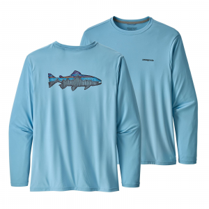 Patagonia Men's Long-Sleeved Capilene(R) Cool Daily Fish Graphic Shirt Sketched Fitz Roy Trout: Break Up Blue L
