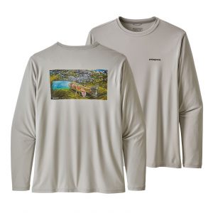 Patagonia Men's Long-Sleeved Capilene(R) Cool Daily Fish Graphic Shirt Underwater: Tailored Grey L
