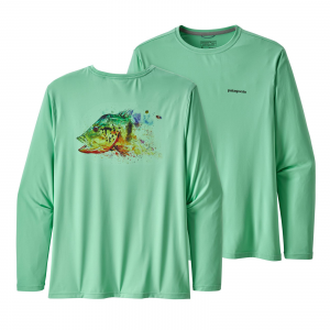 Patagonia Men's Long-Sleeved Capilene(R) Cool Daily Fish Graphic Shirt Peacock Face: Vjosa Green L