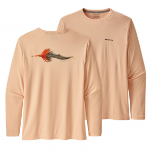 Patagonia Men's Long-Sleeved Capilene(R) Cool Daily Fish Graphic Shirt Poon Fly: Light Peach Sherbet L
