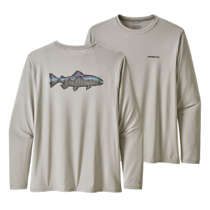 Patagonia Men's Long-Sleeved Capilene(R) Cool Daily Fish Graphic Shirt Sketched Fitz Roy Trout: Tailored Grey XL