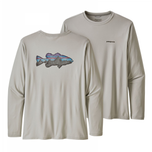 Patagonia Men's Long-Sleeved Capilene(R) Cool Daily Fish Graphic Shirt Sketched Fitz Roy Smallmouth: Tailored Grey XL