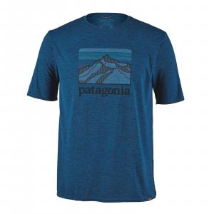 Patagonia Men's Capilene(R) Cool Daily Graphic Shirt Line Logo Ridge: Big Sur Blue X-Dye S