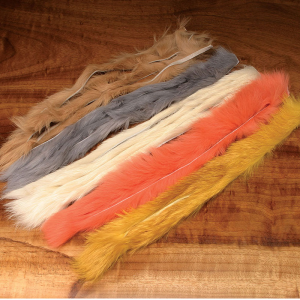 Hareline Natural and Dyed Rabbit Strips Fluorescent Flame