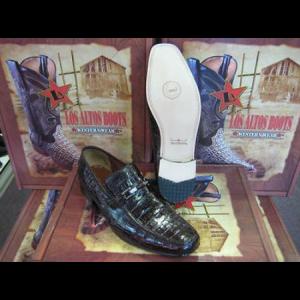 Mens Loafers Genuine Brown Caiman Crocodile Belly Dress Shoe (D)
