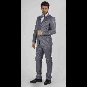 470344861b7 Mens Medium Grey 2 Button Sharkskin Shiny Vested 3 Piece Suit ...