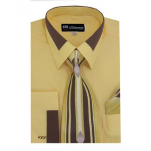 Mens Gold Fashion Contrast Collar French Cuff Dress Shirt Matching Tie and  Hanky Set 9f4f9be26