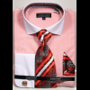 Men's Coral Textured Pattern French Cuff 100% Cotton Fashion Shirt with Tie & Hanky Set