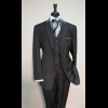 Mens Two Button Single Breasted Suit Jacket With Matching Vest Black Grey