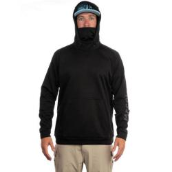 AFTCO Men's Reaper Technical Integrated Facemask Fishing Hoodie - Black L