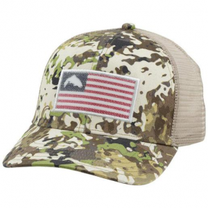 Simms Men's Trucker Hat – River Camo One Size Fits Most