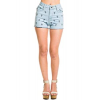 Ya Da Cross Stitched Jean Shorts In Light Denim; 24
