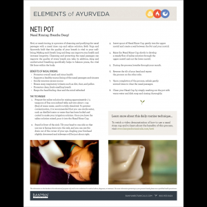 Elements of Ayurveda Handout: Neti Pot