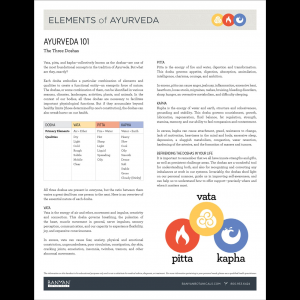 Elements of Ayurveda Handout: Ayurveda 101, Parts 3 & 4
