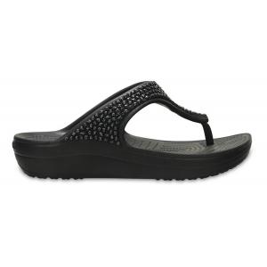 Womens Crocs Sloane Embellished Flip Sandals Shoe(11)