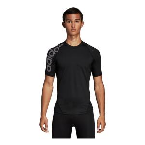 Mens Adidas Alphaskin Sport Badge of Sport Tee Short Sleeve Technical Tops(XL)