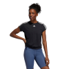 Womens Adidas 3 Stripe Tie Tee Short Sleeve Technical Tops(L)