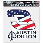 "Fanatics Austin Dillon WinCraft 8"" x 8"" Stars and Stripes Color Perfect Cut Decal"