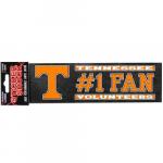 "Fanatics Tennessee Volunteers 3"" x 10"" #1 Fan Die Cut Decal"