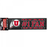 "Fanatics Utah Utes 3"" x 10"" #1 Fan Die Cut Decal"