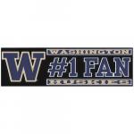 "Fanatics Washington Huskies 3"" x 10"" #1 Fan Die Cut Decal"