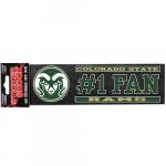 "Fanatics Colorado State Rams 3"" x 10"" #1 Fan Die Cut Decal"