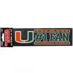 "Fanatics Miami Hurricanes 3"" x 10"" #1 Fan Die Cut Decal"