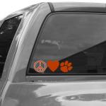 Fanatics Clemson Tigers Peace, Love Car Decal
