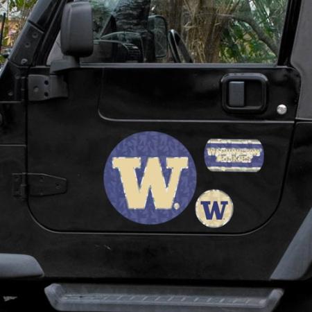 Washington Huskies 11'' x 11'' Prismatic Car Magnet Set