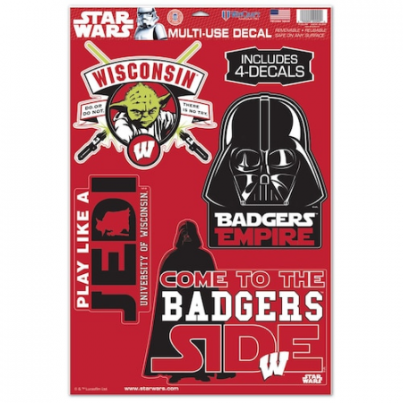 "Wisconsin Badgers WinCraft Star Wars 11"" x 17"" Multi-Use Decal Sheet"