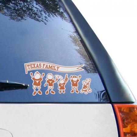 Texas Longhorns 12'' x 12'' Family Car Decal Sheet