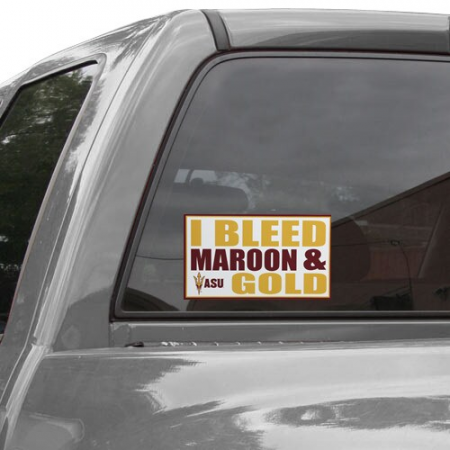 Arizona State Sun Devils 6'' x 12'' I Bleed Maroon & Gold Car Decal