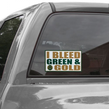 Colorado State Rams 6'' x 12'' I Bleed Green & Gold Car Decal