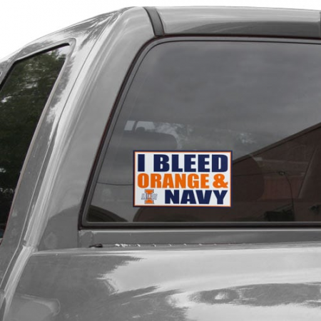 Illinois Fighting Illini 6'' x 12'' I Bleed Orange & Navy Car Decal