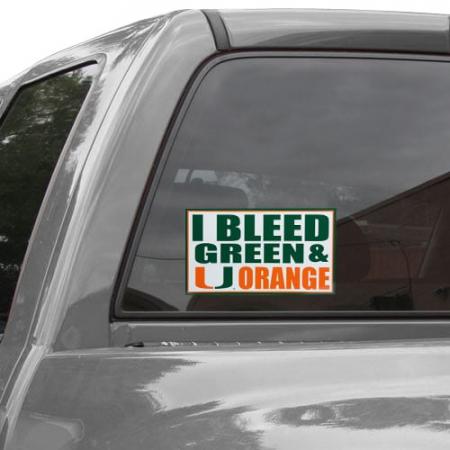 Miami Hurricanes 6'' x 12'' I Bleed Green & Orange Car Decal
