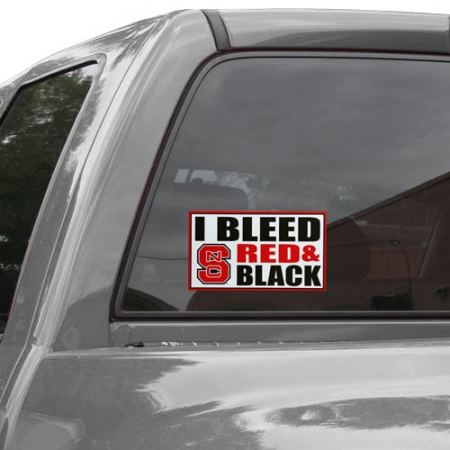 North Carolina State Wolfpack 6'' x 12'' I Bleed Red & Black Car Decal