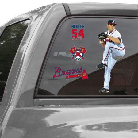 WinCraft Kris Medlen Atlanta Braves 11'' x 17'' Ultra Decal Player Window Clings Sheet