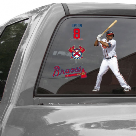 WinCraft Justin Upton Atlanta Braves 11'' x 17'' Ultra Decal Player Window Clings Sheet