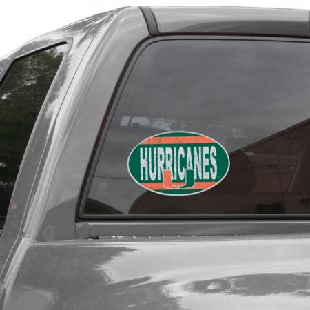 "Miami Hurricanes Vintage 8"" x 8"" Oval Repositionable Vinyl Decal"