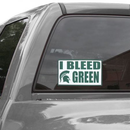Michigan State Spartans 6'' x 12'' I Bleed Green Car Decal