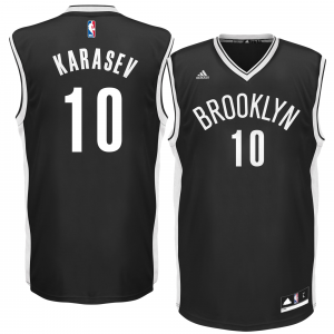 Mens Brooklyn Nets Sergey Karasev adidas Black Replica Road Jersey